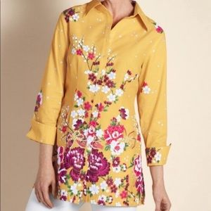 Soft Surroundings Yellow Floral Tunic Top